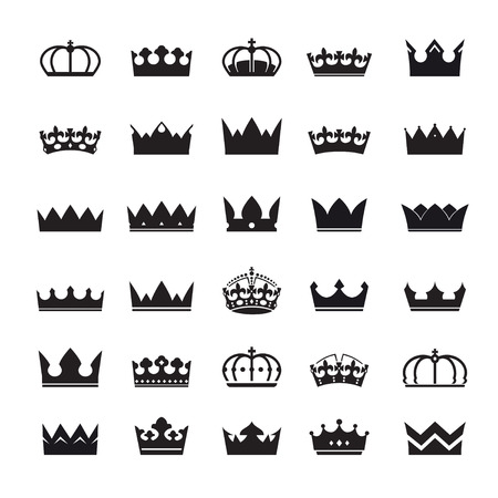 nobleman: Set of black crowns. Vector icons. Vettoriali