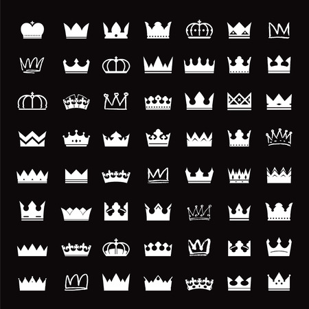 Set of white crowns Ilustrace