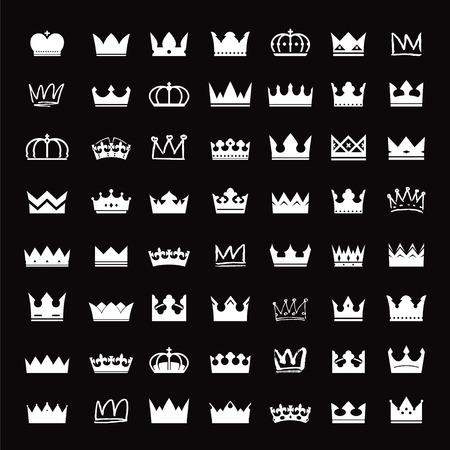 Set of white crowns Illustration