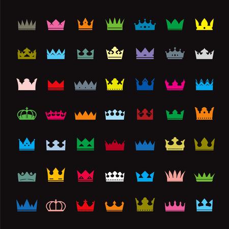 corona real: Conjunto de coronas de color Vectores
