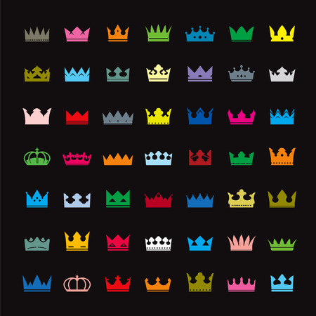 crown silhouette: Set of color crowns