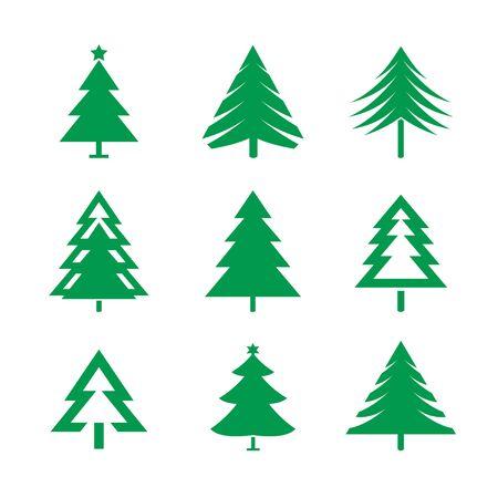 retro christmas tree: Set of green christmas trees.