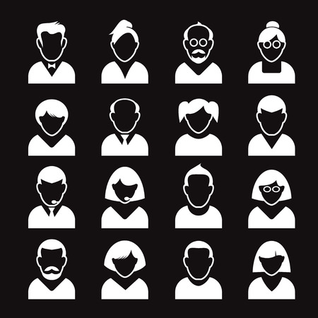 human icons: Collection of White Human Icons. Vector Illustration. Illustration