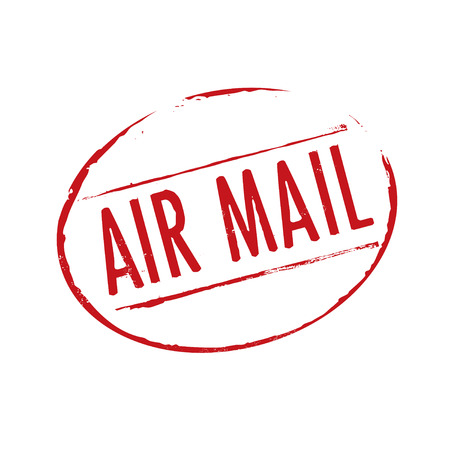 air mail: Red stamp and text AIR MAIL. Vector Illustration.