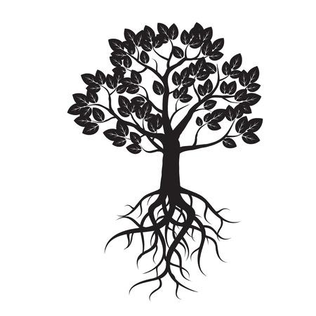Black Tree and Roots. Vector Illustration. Vettoriali