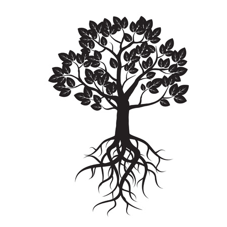 Black Tree and Roots. Vector Illustration. Illustration