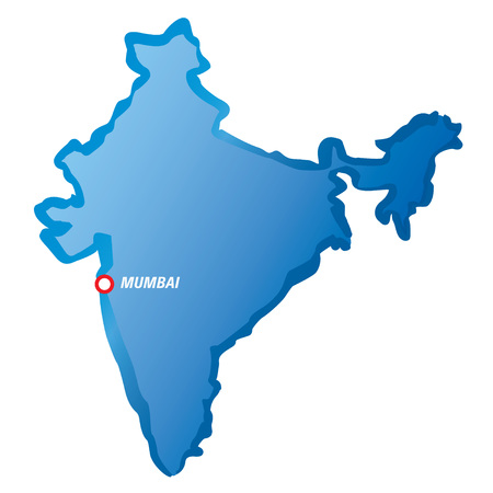 mumbai: Blue map of India and Mumbai.