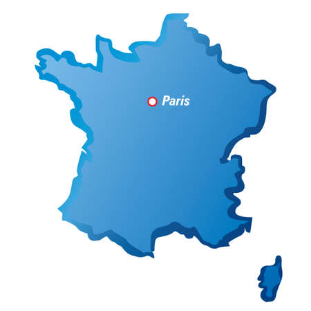 localization: Blue Vector maps of France and Paris.