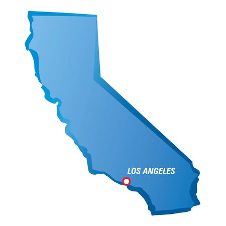 los angeles: Map of California and Los Angeles. Vector Illustration.
