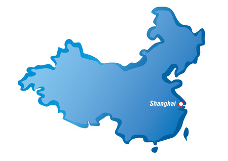 Blauwe kaart van China en Shanghai City. Stock Illustratie