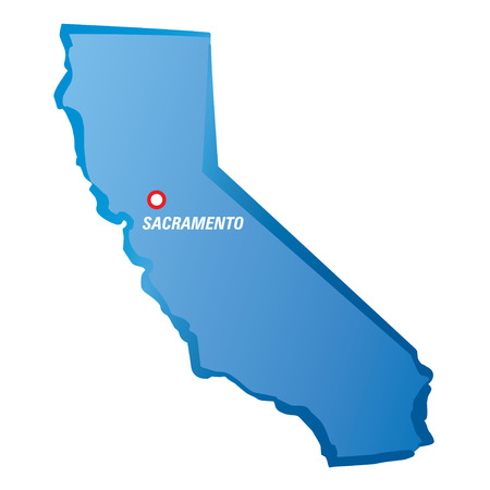 sacramento: Blue maps of California and Sacramento.