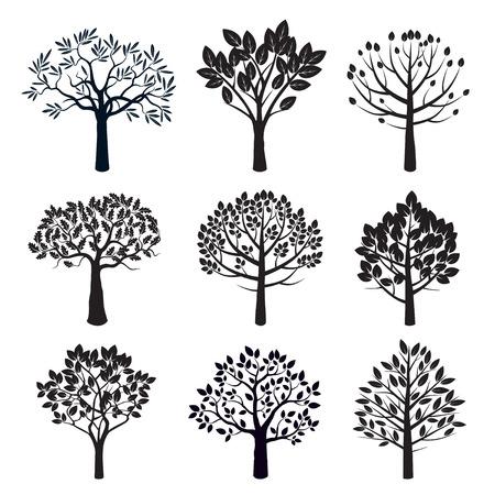 Set van zwarte bomen. Vector Illustratie.
