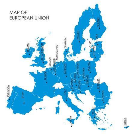 european union: blue map of the European Union