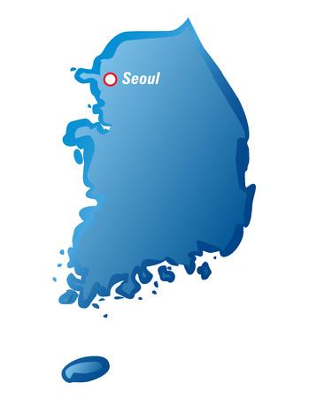 seoul: Blue drawing maps of Korea and Seoul.