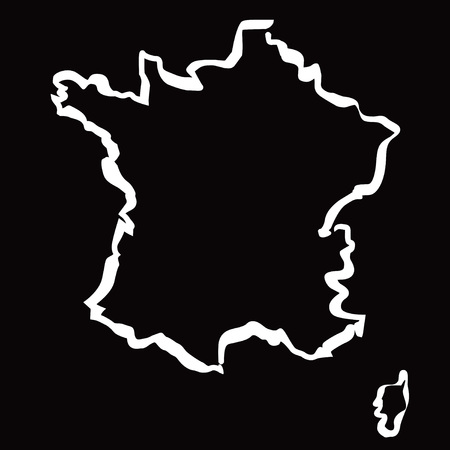 localization: White drawing maps of the FRANCE.