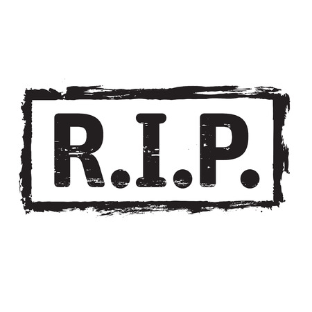 rip: Black grunge stamp and text RIP