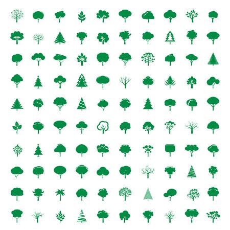 arbre feuille: Collection d'arbres verts. Ic�nes vectorielles.