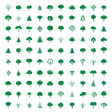 tree of life silhouette: Collection of Green Trees. Vector Icons.
