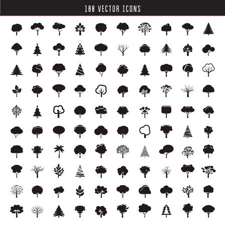 shape silhouette: Set of Black Trees. Vector Icons.