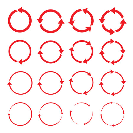 Set of red arrows circle.