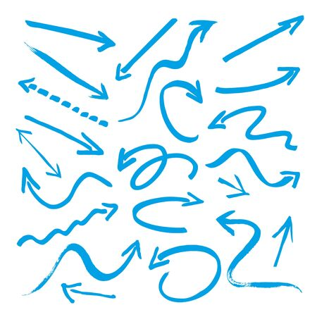 drawing up: Set of Blue Arrows. Vector Illustration and Background. Illustration
