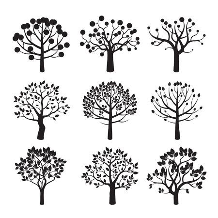 Set of Black Trees. Vector Icons.