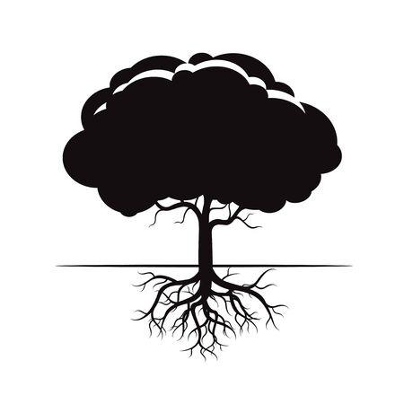 roble arbol: Árbol y raíces Negro. Icono del vector. Vectores