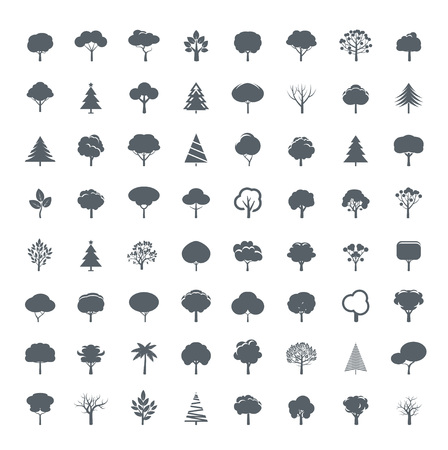 vector elements: Collection of Grey Trees. Vector icon and graphic elements ..