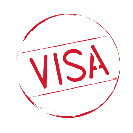 visa: Red stamp. Illustration and Icon. Visa text. Illustration