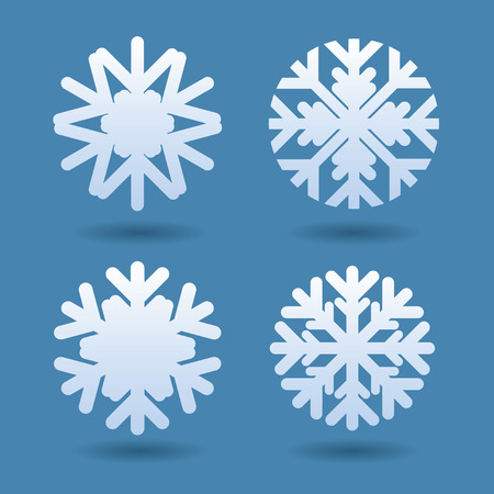 isolated: Set of white snowflakes. Vector Icons. Illustration