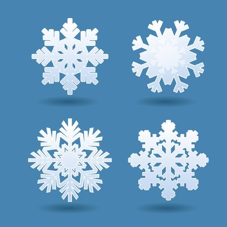 Set of white snowflakes. Vector Icons. Ilustração