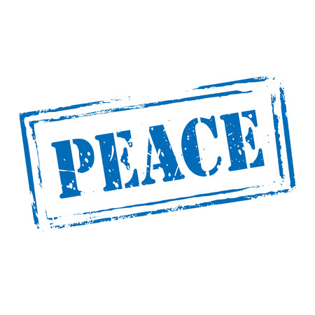 peace stamp: Blue grunge stamp PEACE. Graphic element.