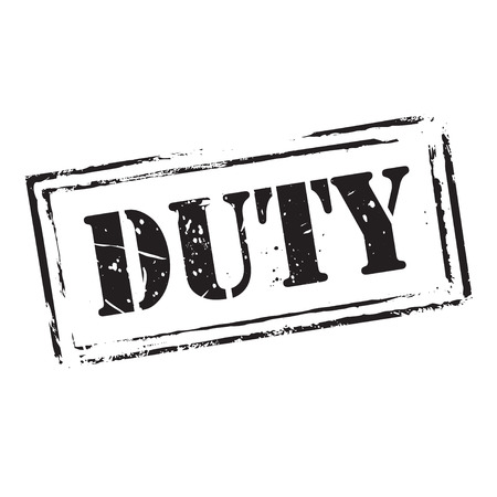 duty: Red grunge stamp and text DUTY