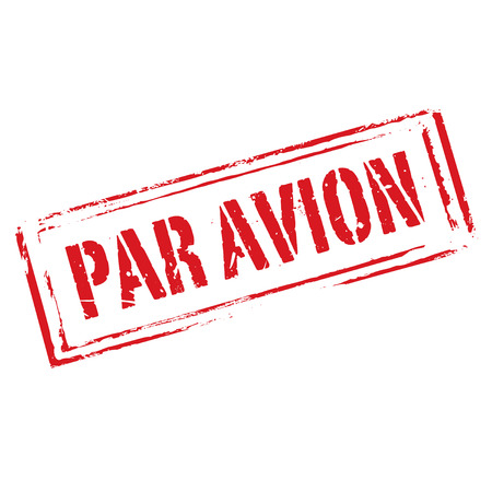 avion: Red grunge stamp Par Avion. Graphic element.
