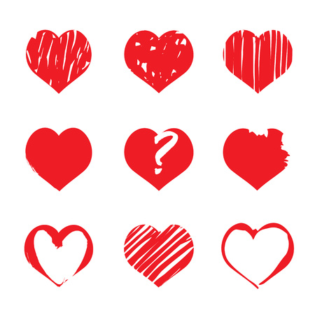 brush drawing: Set of hand-drawing Heart. Graphic elements and Icons.