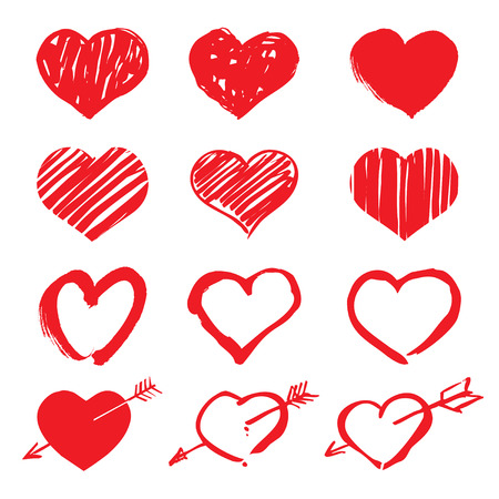 Set of Heart. Graphic elements and Icons.