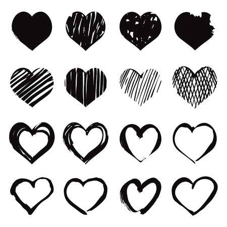 valentin day: Set Icon of Heart. Graphic elements.