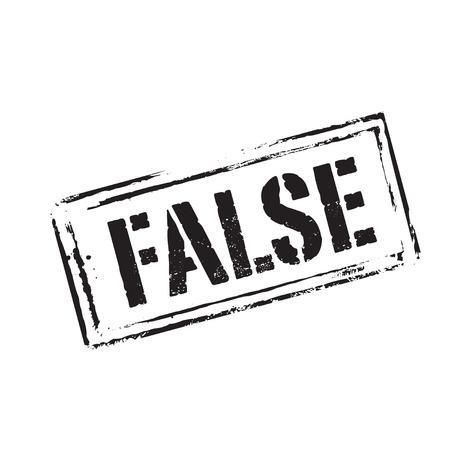 false: Black grunge stamp and icon. Text FALSE Illustration