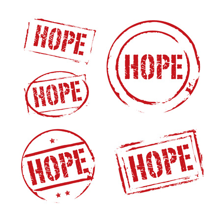 cute text box: Set of red grunge stamps and text HOPE. Collection icons.