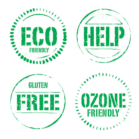 ozone friendly: Set of green grunge ECO stamps.