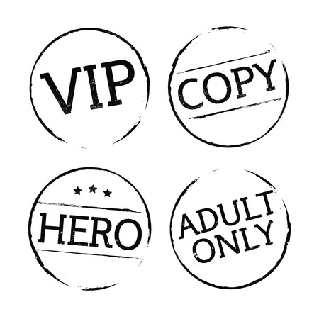 adult only: Set of black grunge stamps. Vector Icons.
