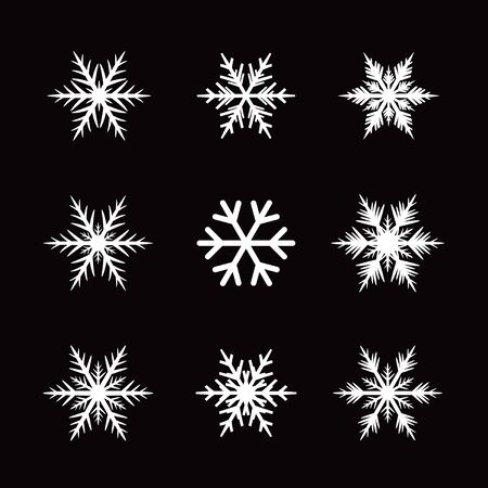 lments graphiques: Collection Of White Snowflakes. Vector Icons and Graphic Elements.