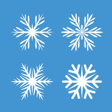 Collectie Van Witte Sneeuwvlokken. Vector Pictogrammen en grafische elementen.