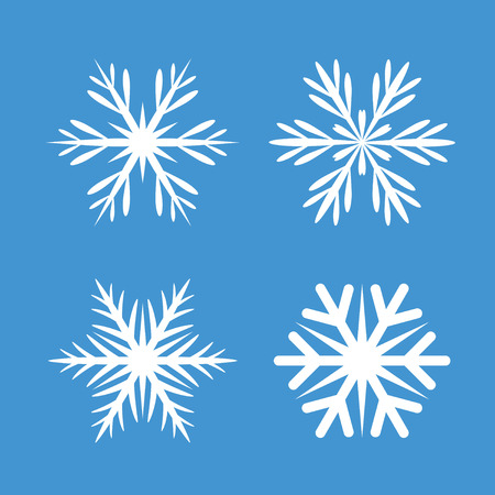 Collection Of White Snowflakes. Vector Icons and Graphic Elements.