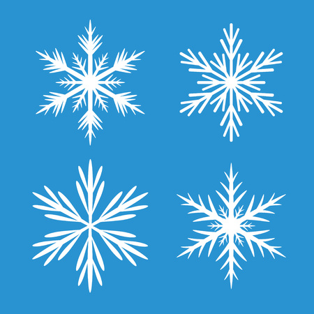 Collection Of White Snowflakes. Blue background.