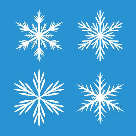 copo de nieve: Colección De Copos de nieve blancos. Fondo azul.