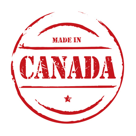 canada stamp: Red grunge stamp MADE IN CANADA