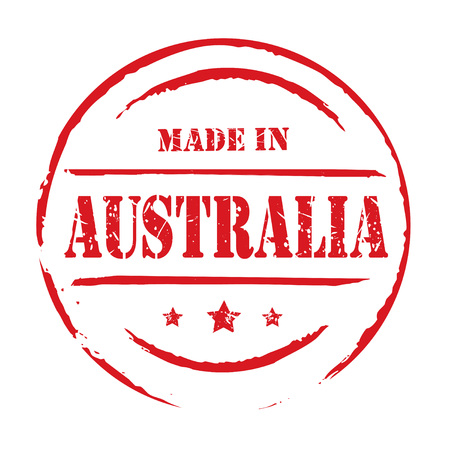australia stamp: Red grunge stamp MADE IN AUSTRALIA Vectores