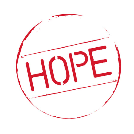 hopes: Red grunge stamp and text HOPE Illustration