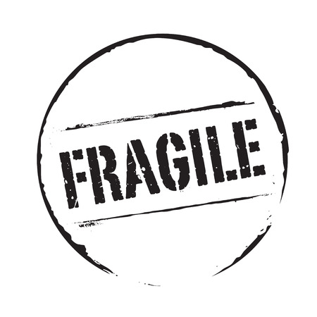 Black grunge stamp and text FRAGILE